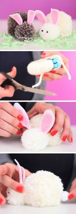 21 easy easter crafts for kids to make pom pom bunnies diy easter crafts for preschoolers to make easy spring craft ideas negle Image collections