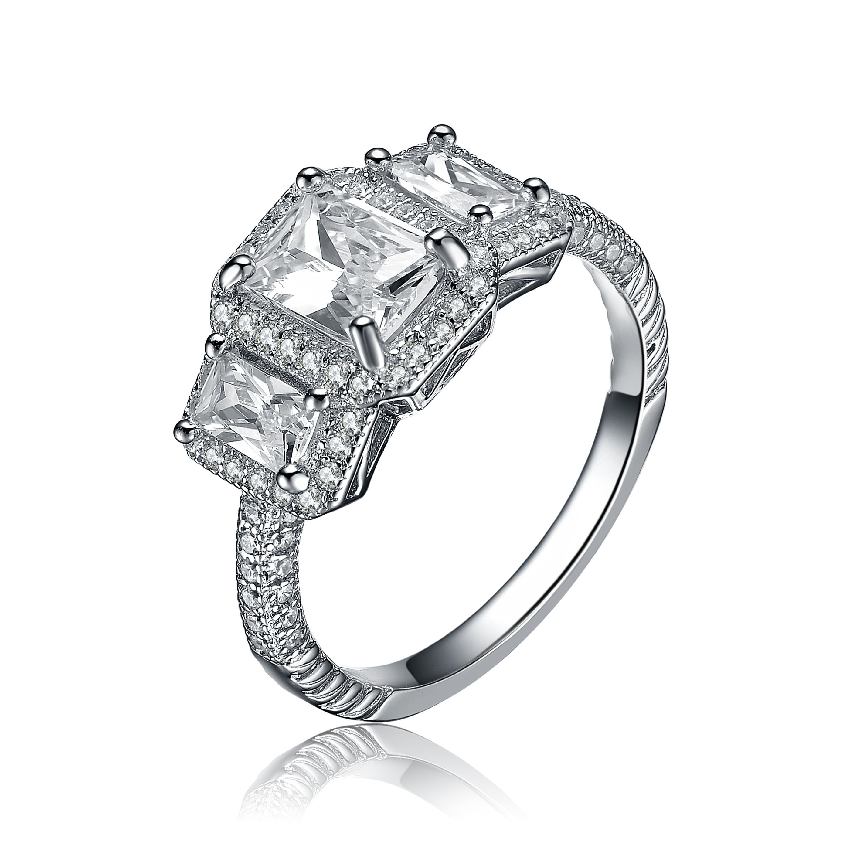 Collette Z Sterling Silver Emerald Cut Cubic Zirconia Ring (Size 8), Women's, White