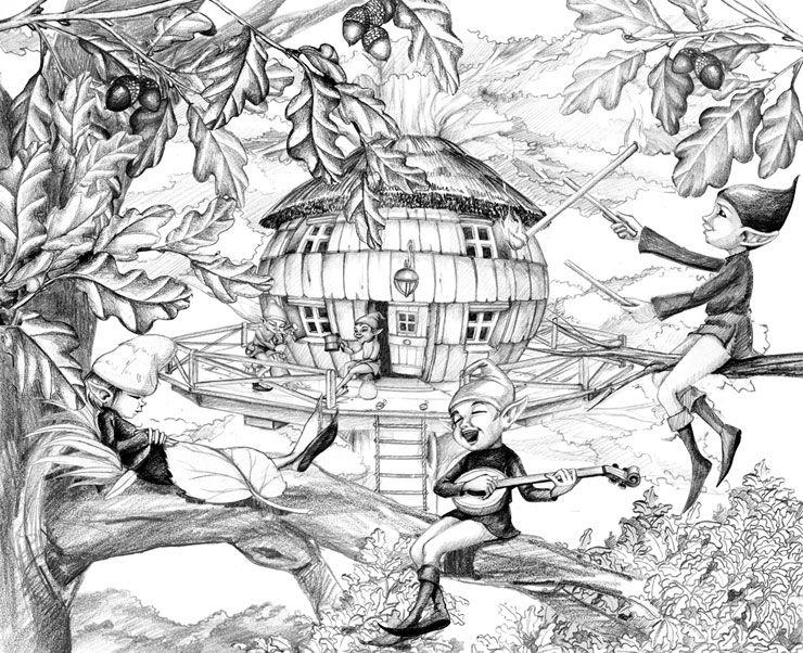 dessin de la cabane les robinsonades tree hut cabin