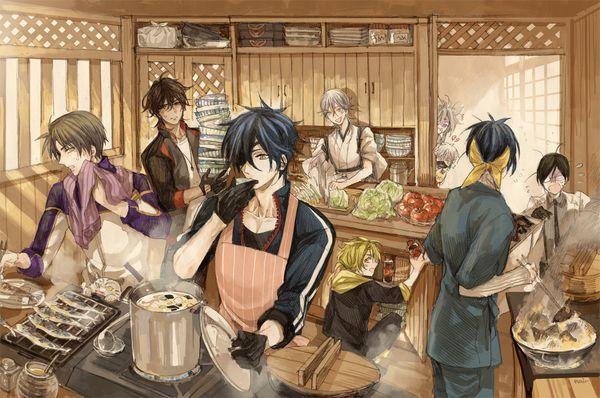 Touken Ranbu, Shokudaikiri Mitsutada, Heshikiri Hasabe, Ookurikara, Shishiou, Mikazuki Munechika, Yagen Toushirou, Tsurumaru Kuninaga, Kogitsunemaru, Nakigitsune