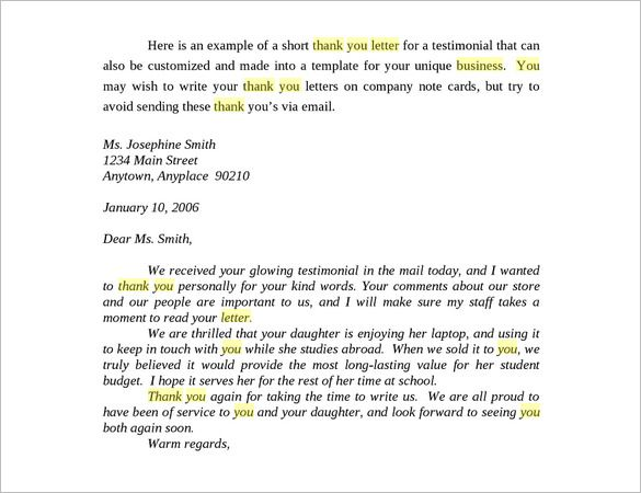 business thank you letter free sample example format download - business letters
