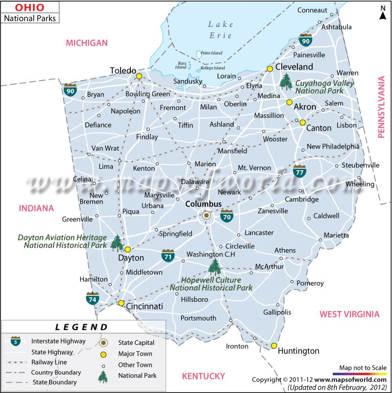 Ohio National Parks Map Travel Pinterest Park And Usa: Ohio Map In Usa At Codeve.org
