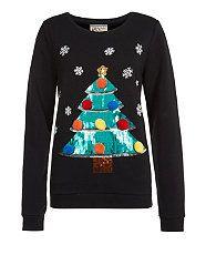 Black (Black) Black Sequin Christmas Tree Sweater   291679401   New Look