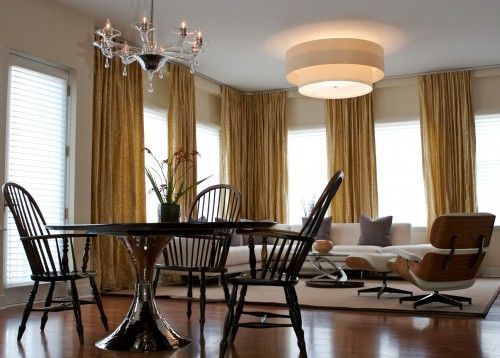 Pinch pleat, functioning drapes on ceiling mounted track system - vorhang schlafzimmer modern