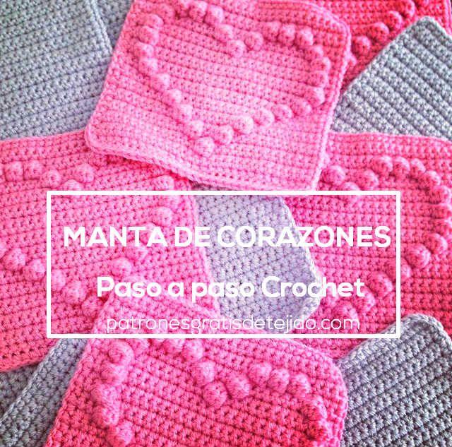 aprende a hacer una manta de corazones al crochet … | Pinterest ...