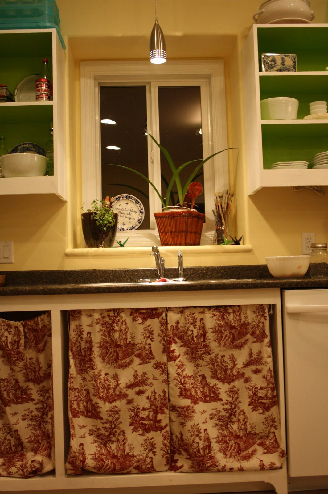 Home Made Kitchen Cabinets Poorly Hung Toile Cloth Cabinet Curtains Instead Of Doors More