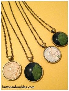Beautiful - Necklaces using maps and satellite images of Port Hood, Nova Scotia. Made by my good Friend Melanie