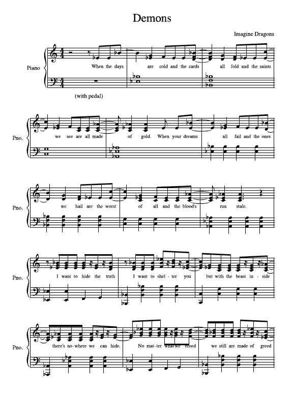 Demons Violin Sheet Music Ibovnathandedecker