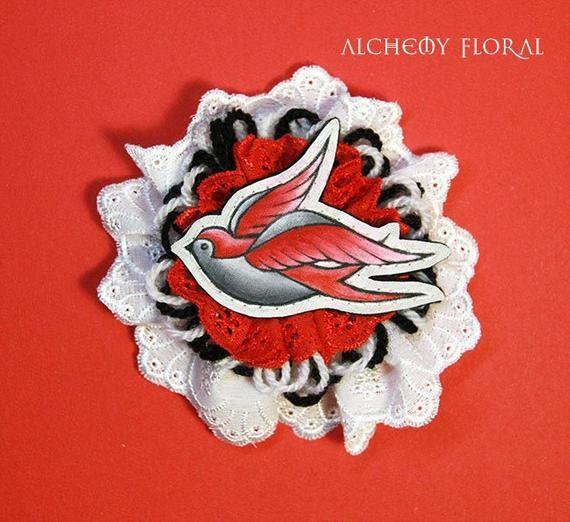Hand-Painted Hair Clip - Vintage-Style Red Swallow  Fascinator, Rockabilly Bride, Alternative Weddin #fascinatorstyles