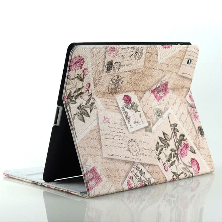 Retro Folio Book style Flower Envelope Leather case for apple ipad 2 for ipad 3 ipad 4 Magnetic wake up sleep stand Smart Cover $12.99