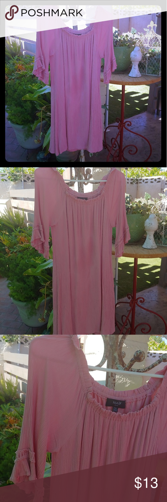 NAIF,  Off the Shoulder Easy Flow Dress, Petite XL This dress is a cute fluttery style.  Color is a warm mauve/peach.  Dress has 2nd layer lining. No …