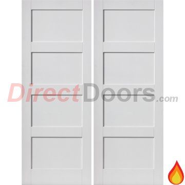 JB Kind Montserrat Fire Door Pair is White Primed and 30 Minute Fire Rated.  #doublefiredoors #firedoors #directdoors