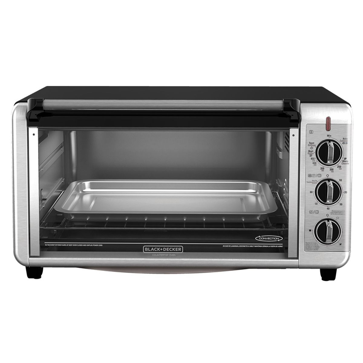 BLACK+DECKER Extra Wide Counter Toaster Oven, Silver