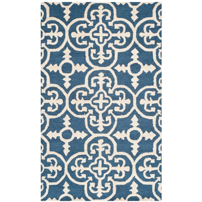 Byron Navy Blue Ivory Tufted Wool Area Rug Modern Wool Rugs Wool Area Rugs Area Rugs