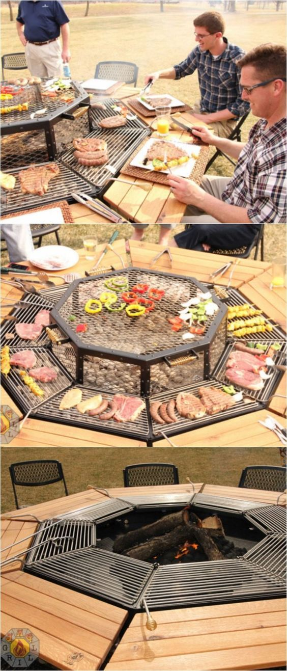 The Ultimate Fire Pit Bbq And Table Combo Grill Fire Pit Bbq Fire Pit Grill Backyard Grill Ideas