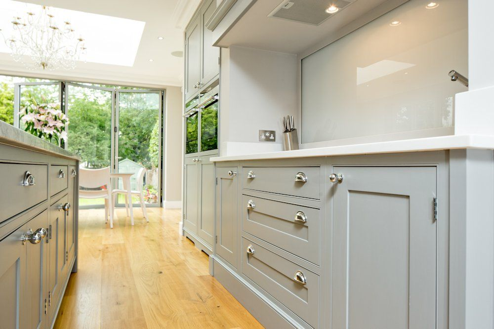 Light Grey And White Kitchen classic grey and white kitchen - bespoke handmade wood kitchens