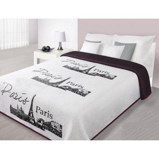 315f76ebb380 Prehoz na posteľ bielej farby s panorámou Paríža
