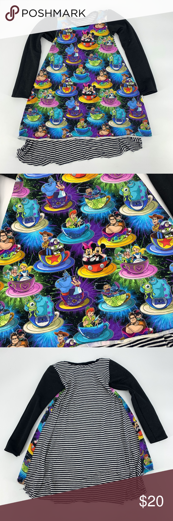 Boutique Disney Tea Cup Character Custom Dress Super cute long sleeve custom boutique dress, all different Disney and Pixar characters in tea cups. Gently used please see all photos.   Fits a girls size 6 Dresses Casual #disneycups