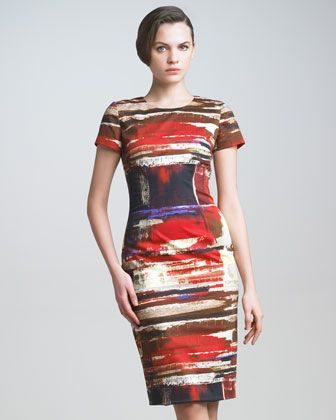 Brushstroke-Print Twill Dress by Carolina Herrera