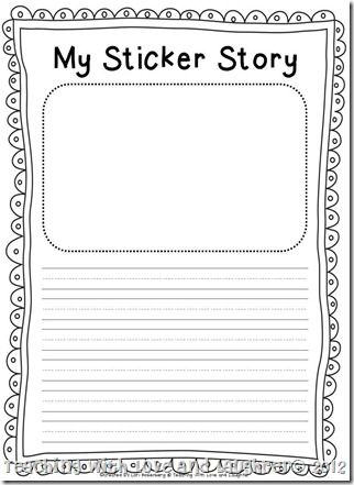 Cute my sticker story, my scribble story writing paper FREEBIES - blank writing template