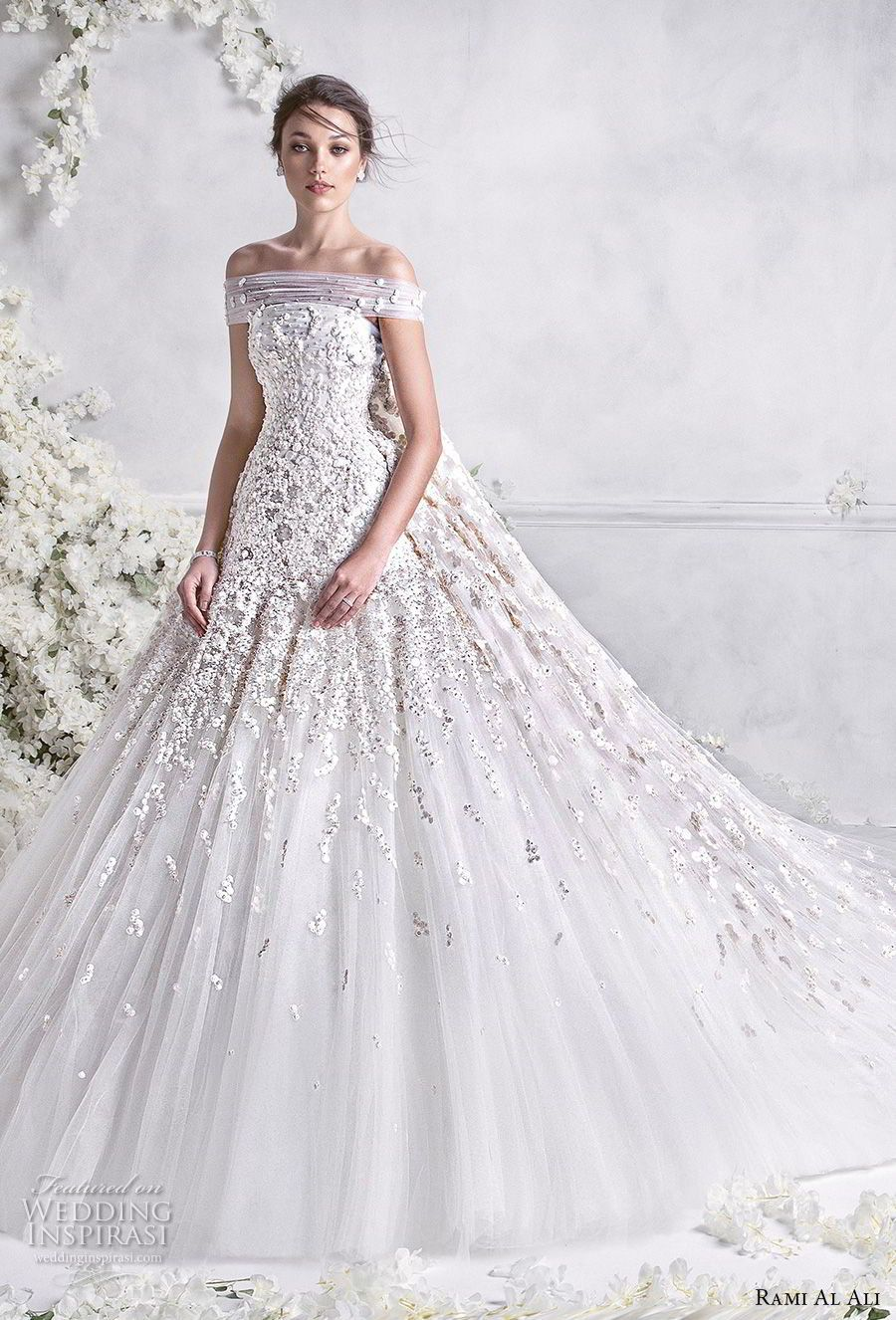 e21ec4181c372 rami al ali 2018 bridal off the shoulder straight across neckline heavily  embellished bodice princess ball gown a line wedding dress royal train (2)  mv ...