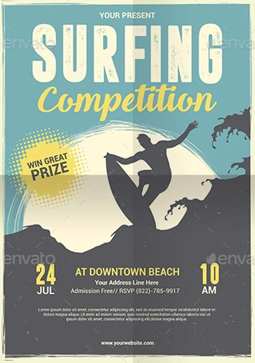 Surfing Competition Flyer and Poster Template - https\/\/ffflyer - competition flyer template