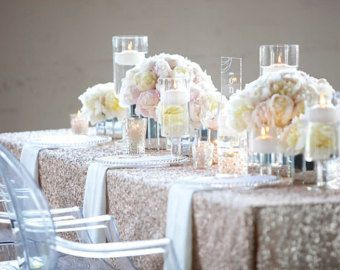 High End Luxury Sequin Tablecloths For The Ultimate Wedding Or Event Champagne Blush