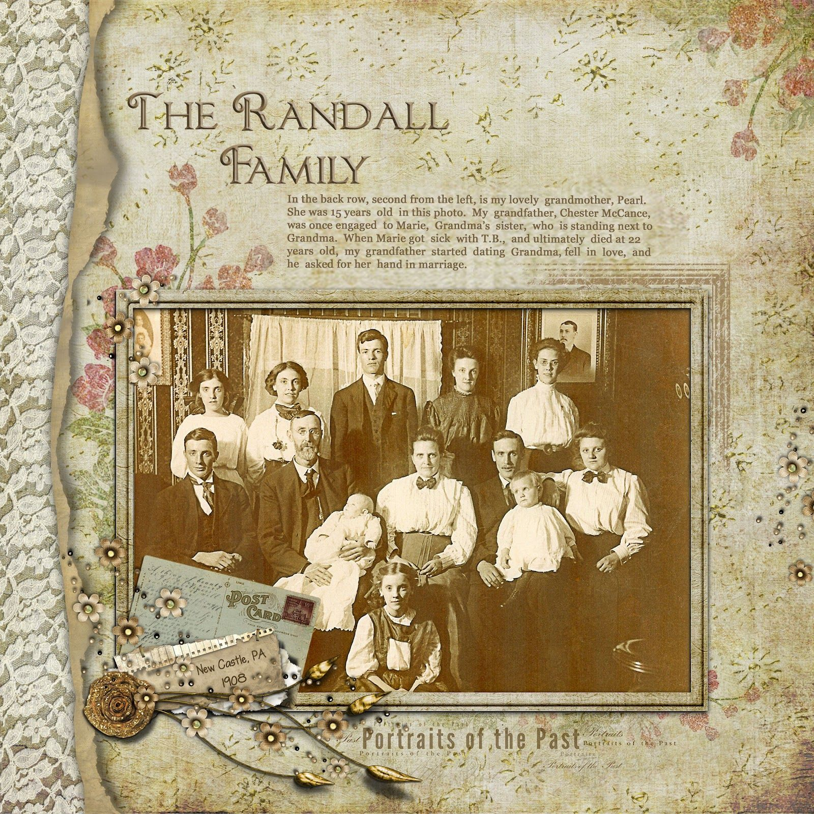 the randall family lovely heritage digi page with a beautiful lace border the soft focus colors and embellishments perfectly highlight the faded tones of