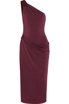 Tamara Mellon One-shoulder suede-trimmed satin-jersey dress | NET-A-PORTER