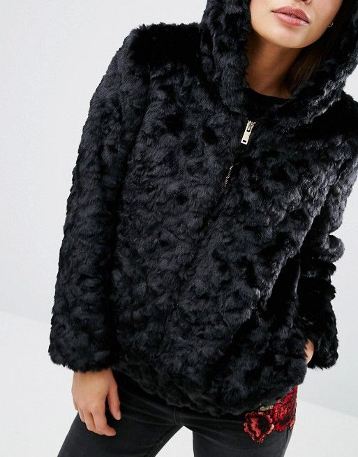 Faux fur hooded jacket new look