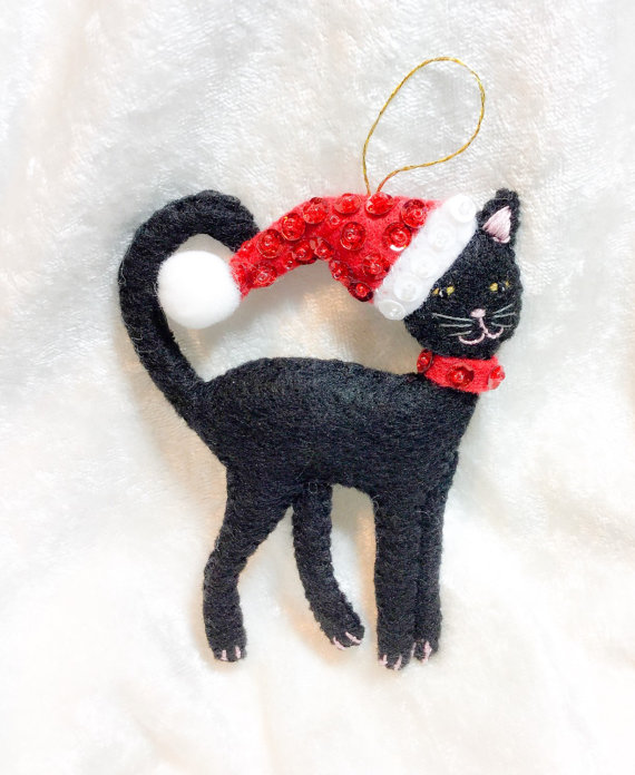 black felt cat christmas decoration christmas tree decor festive ornaments kitten in santa hat black cat christmas gift - Cat Christmas Decorations