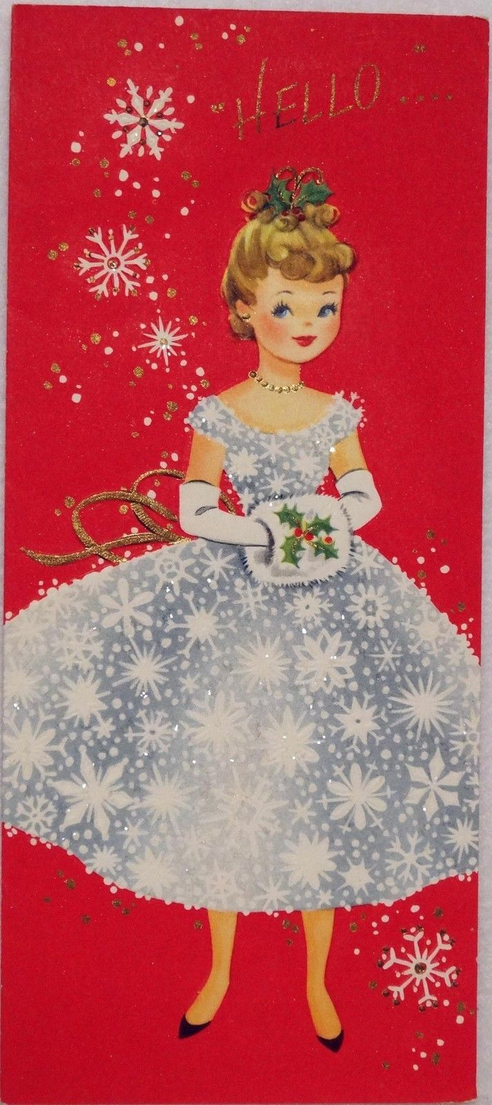 1096 50s beautiful glittered girl w muff vintage christmas beautiful glittered girl w muff vintage christmas greeting card kristyandbryce Image collections