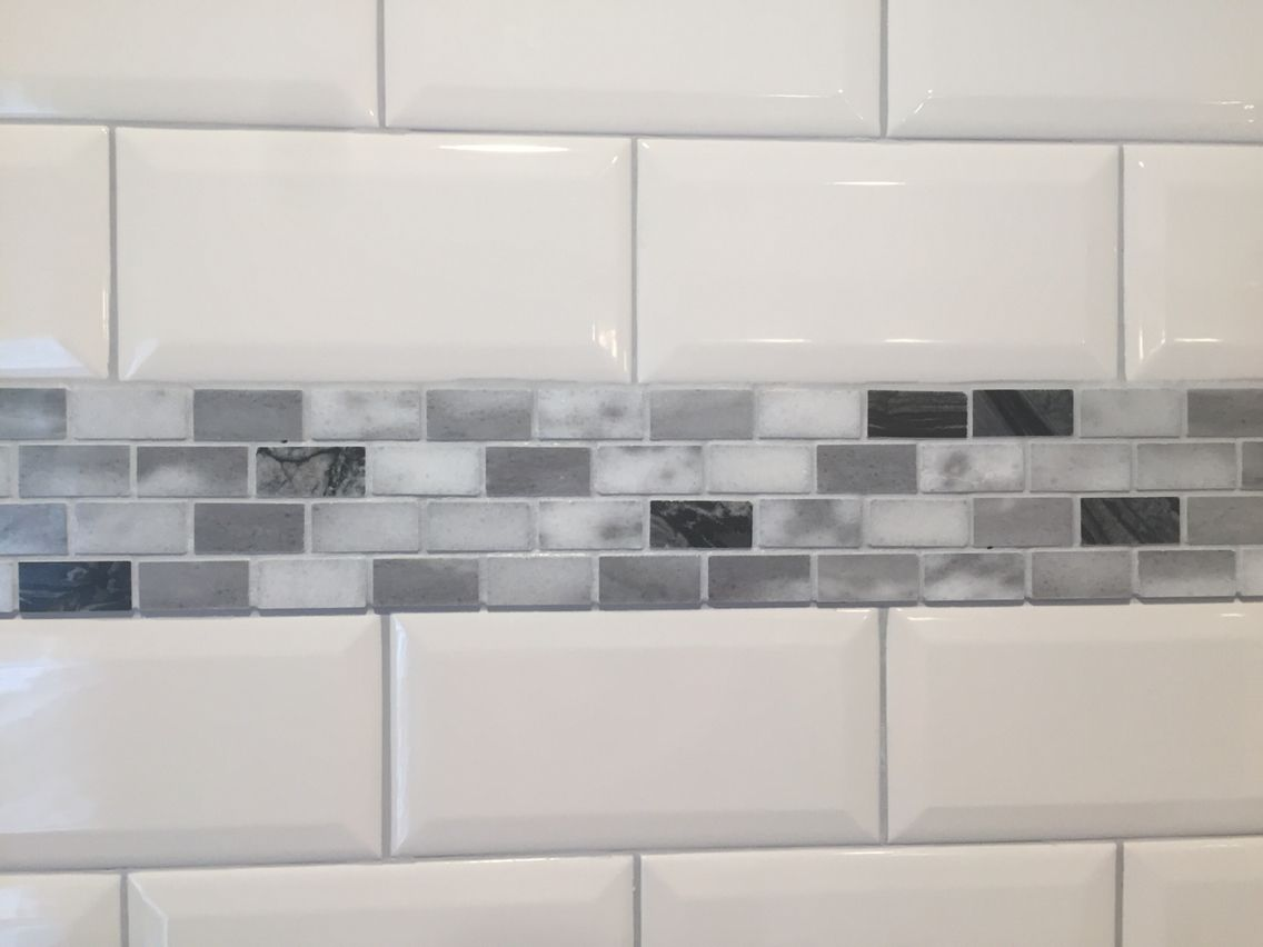 Home depot stone white beveled subway tiles with marble accent trim home depot stone white beveled subway tiles with marble accent trim tiles dailygadgetfo Image collections