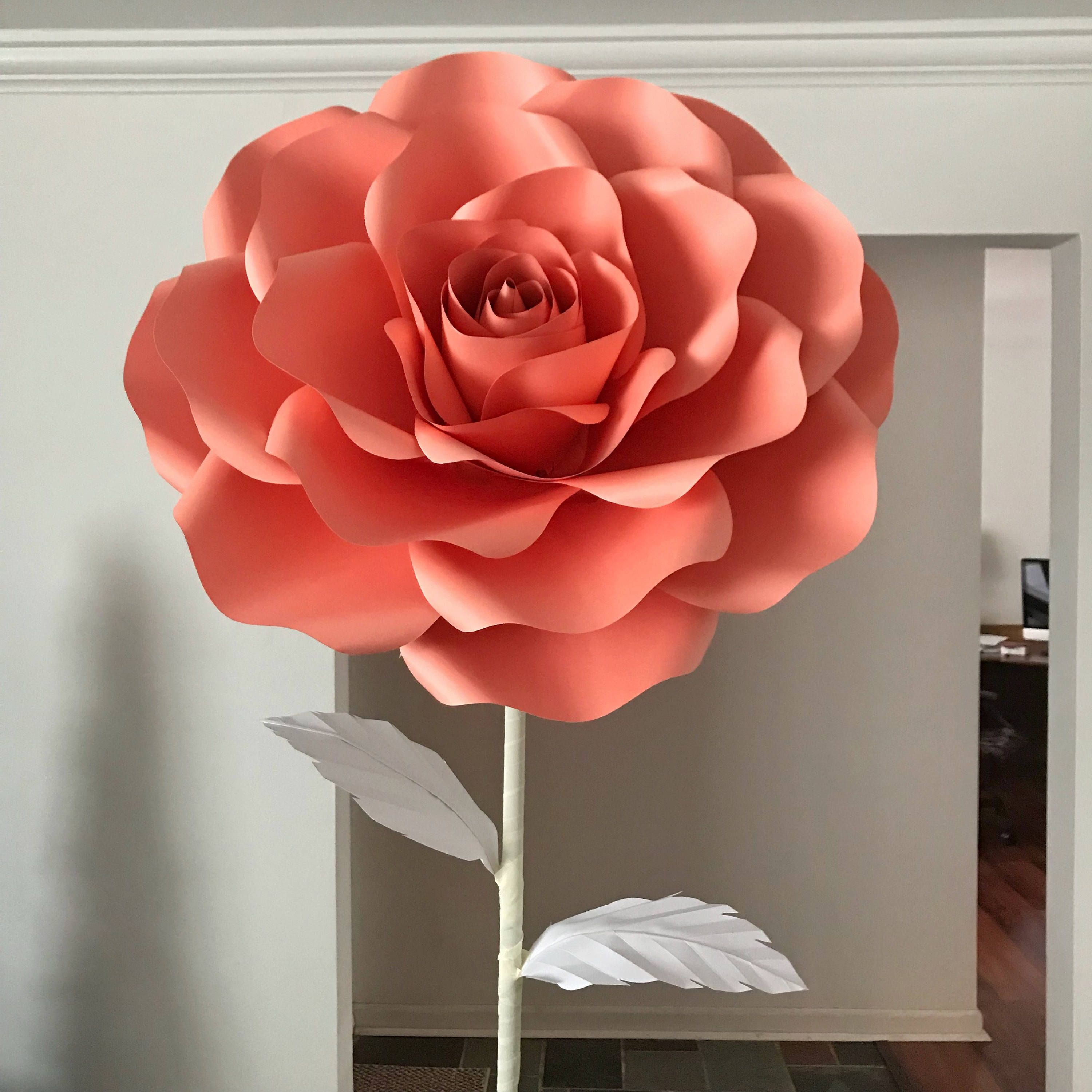 Paper Flowers Svg Extra Large Rose Paper Flower Template Cricut