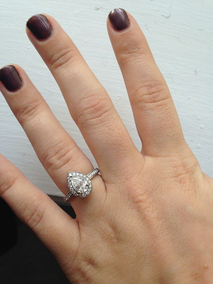 Perfect Real Ritani Engagement Rings Pear Shaped Diamond Halo with French Set Band