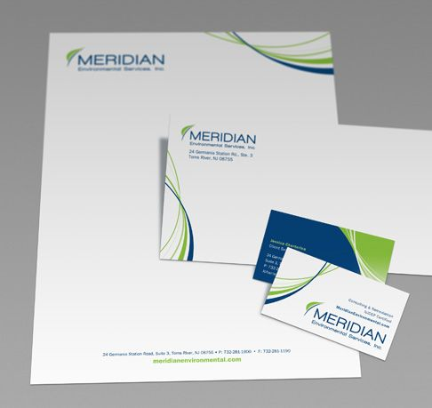 Meridian Environmental Services stationery including letterhead