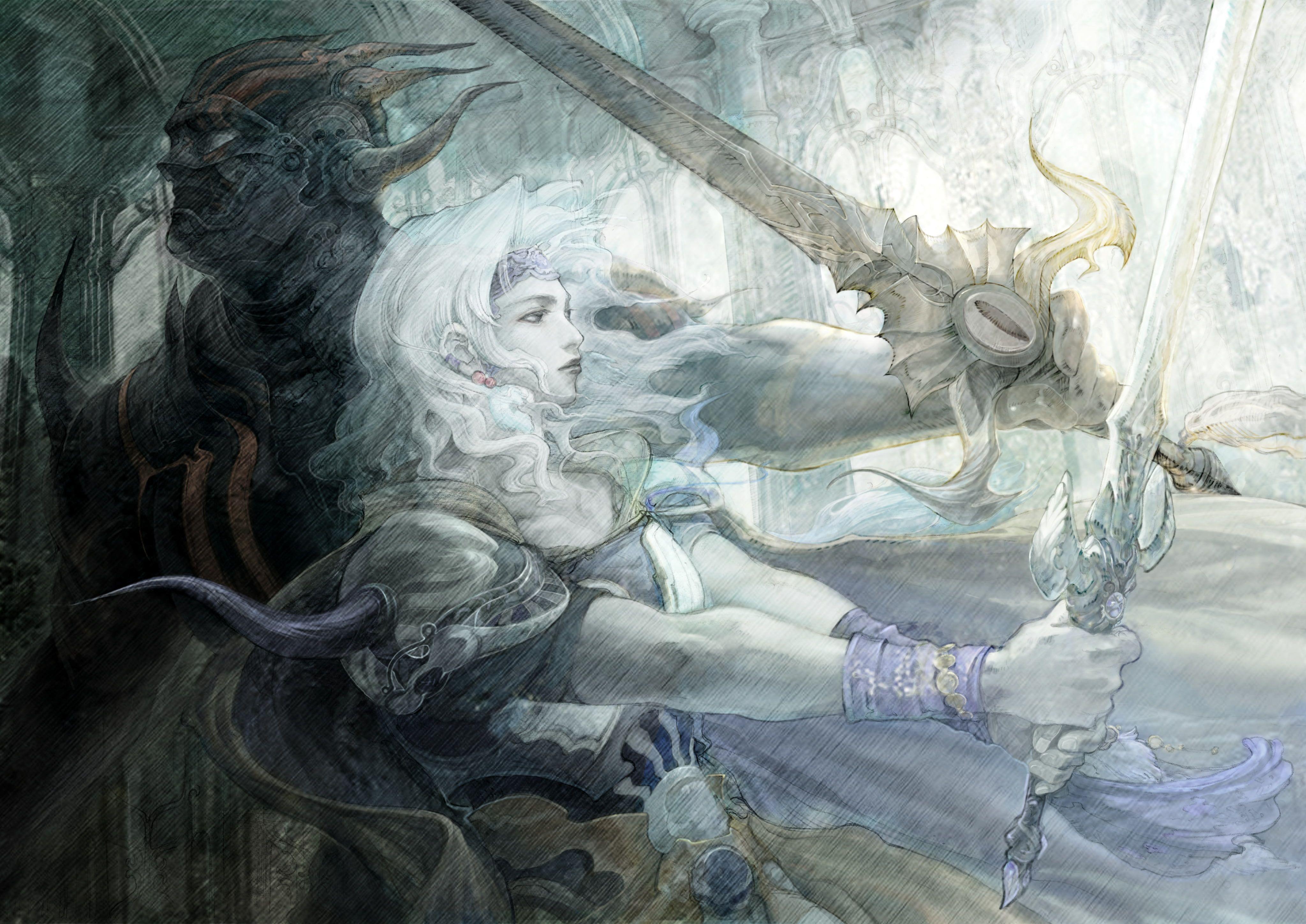 Fantasy Art Yoshitaka Amano 4095x2896 Abstract Fantasy Hd Art Fantasy Art Yoshitaka Amano 4k Wallpaper Final Fantasy Artwork Final Fantasy Iv Final Fantasy