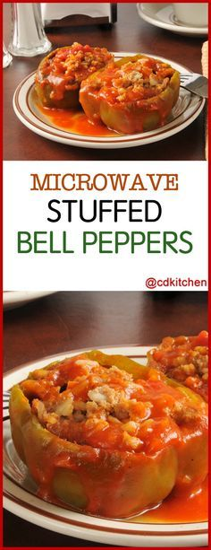 Microwave Stuffed Bell Peppers A Microwave Version Of Stuffed Bell Peppers Made With Ground Beef Stuffed Peppers Microwave Recipes Dinner Microwave Dinners