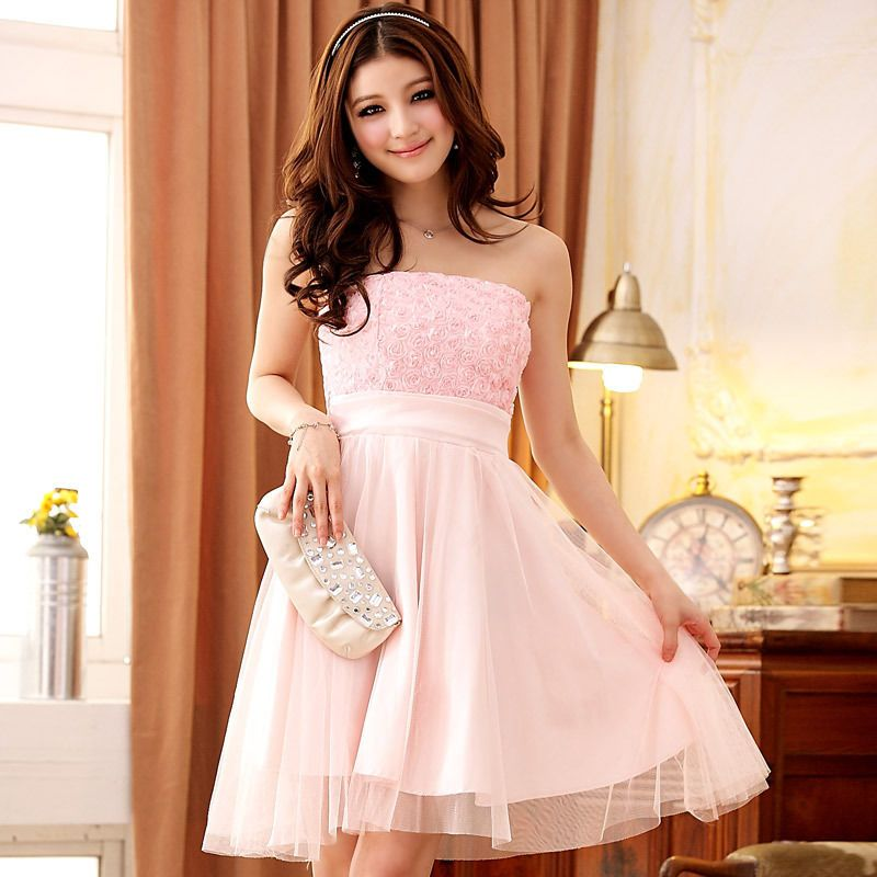 Party Semi Formal Prom Strapless Teens Ladies Girls Dress Ballet ...