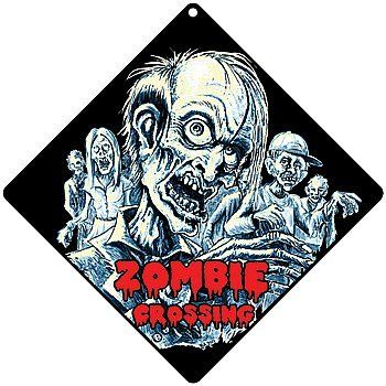 "Zombies Crossing Glow in the Dark Wall Sign 12"" x 12"" - Aluminum Pre-drilled by Atlas Screen Printing. $9.87. Who goes there?. Then these aluminum signs are fun wall decor.. Predrilled for hanging. 12""x 12"".. If you suspect you're the target of zombies.. And they glow-in-the-dark!. Who goes there? If you suspect you're the target of zombies.  Or, have an obsession with the impending apocalypse. Then these aluminum signs are fun wall decor.  And they glow-in-the-dark! Predrill..."