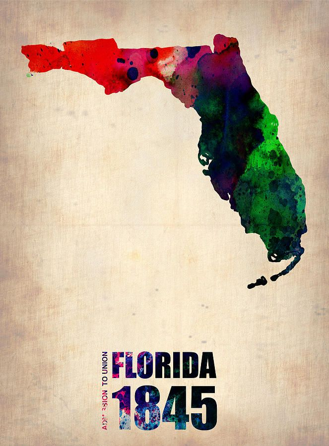 Florida Watercolor Map By Naxart Studio Watercolor Map Map