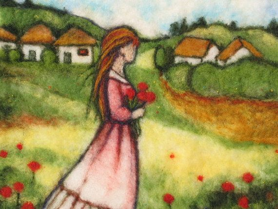 Needle Felted Art Wall Hanging A Women by marinalubomirsky, $140.00 ...