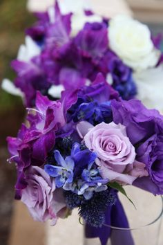 Bridal Bouquets Purple Pink And Blue Flowers Purple Wedding