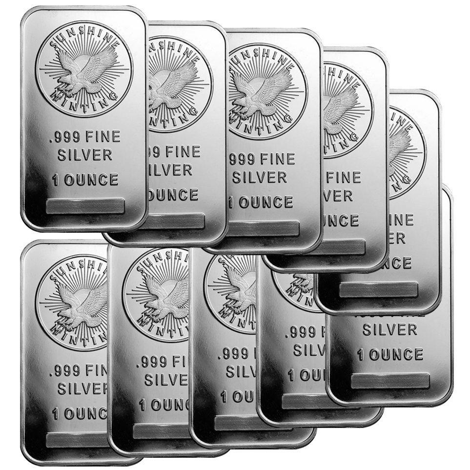 1 Oz Sunshine Silver Bar New Mintmark Si Lot Of 10 Silver Bars Gold Bullion Bars Gold Money