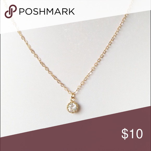Brand new CZ diamond dainty gold necklace Delicate and elegant. Dress up or free down. Perfect everyday necklace. Jewelry Necklaces