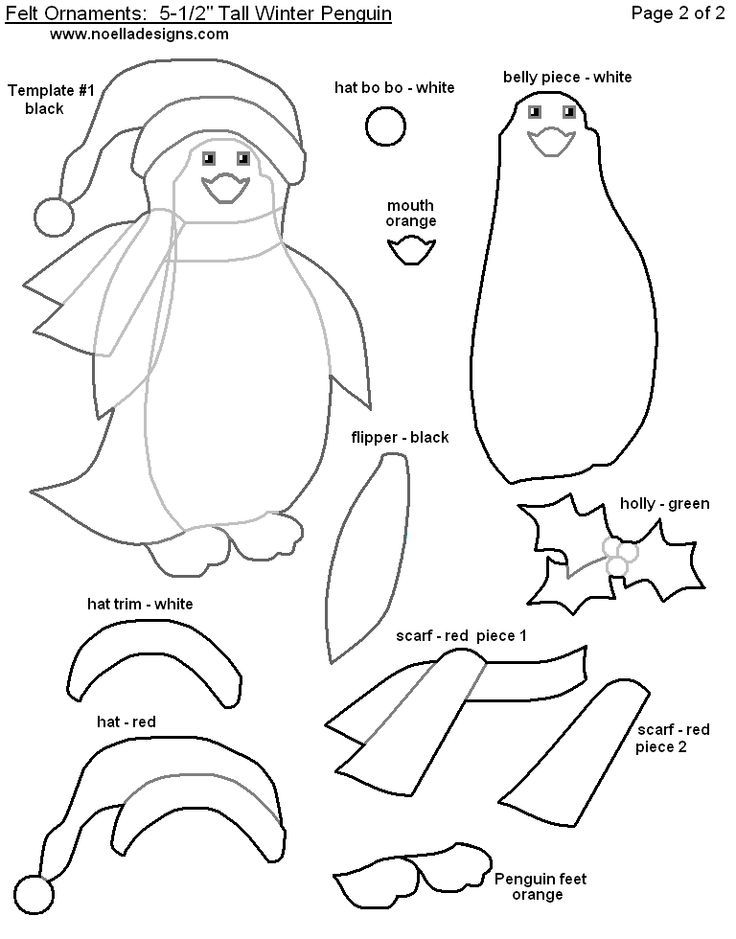 Penguin Felt Christmas Ornament Patterns Printable wzorki do - penguin template