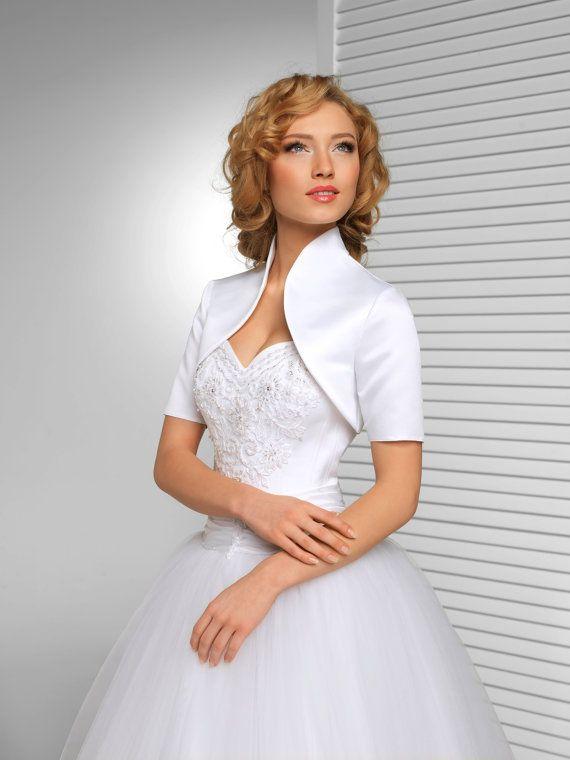 Satin Bridal Bolero Jacket Short Sleeves Stand Up Collar Bolero In