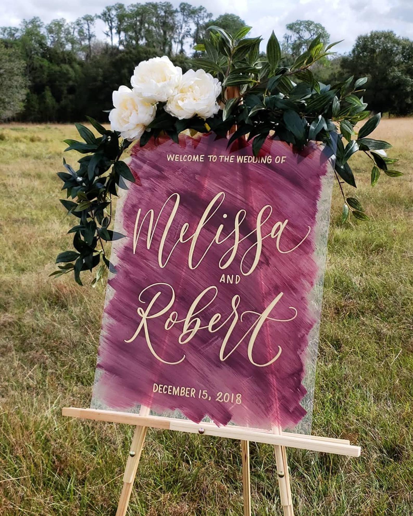 NEW Custom Wedding Painted Back Acrylic Sign Vertical