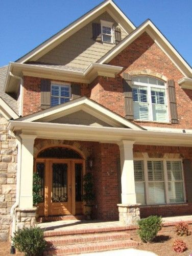 Red Based Brick With Light Not White Stone And Cedar Shakes On Dormers This Is It Brick House Trim Brick Exterior House House Paint Exterior