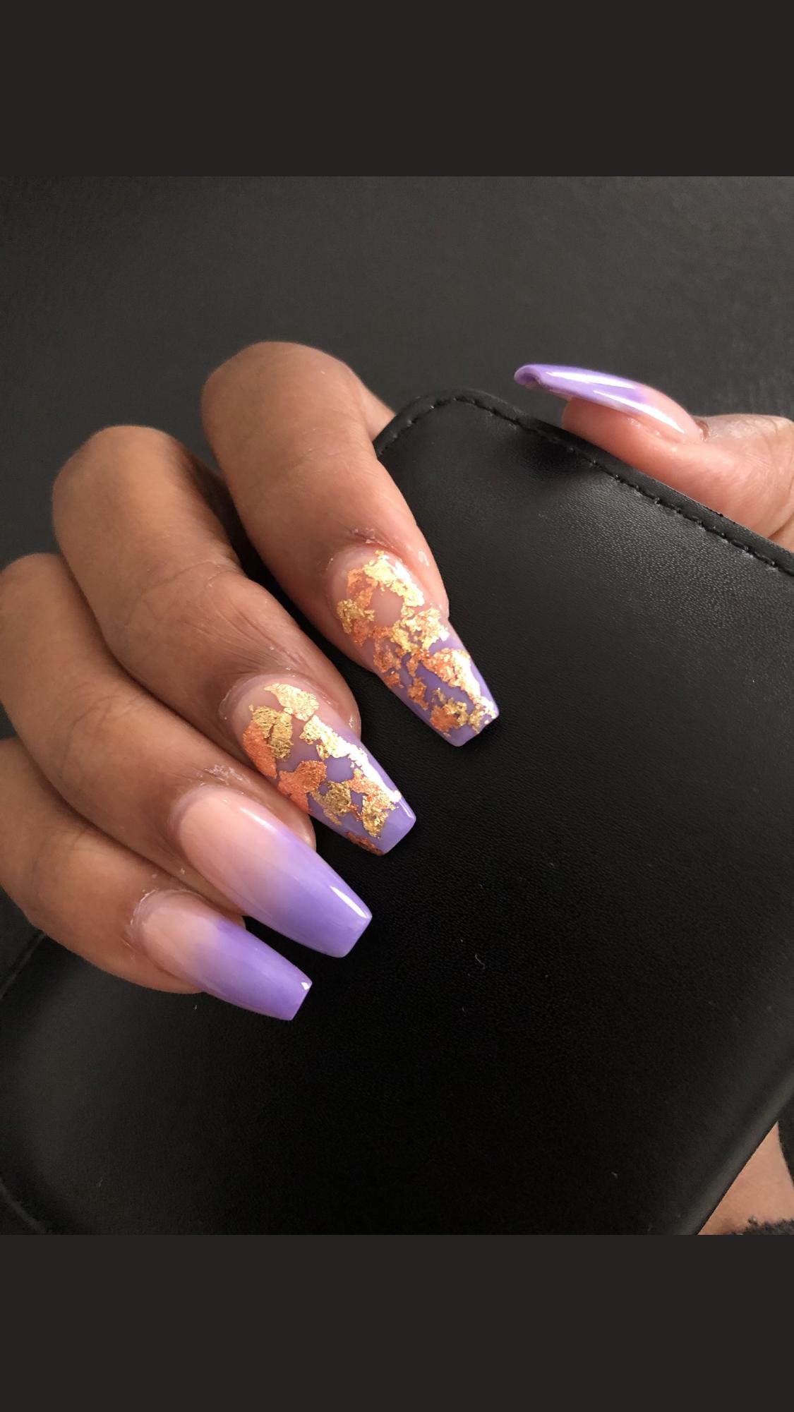 Gold Flakes Gold Acrylic Nails Purple Acrylic Nails Best Acrylic Nails
